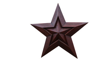 Wooden Star against a White Background
