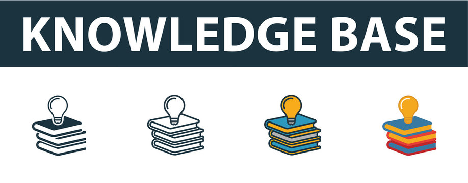 Knowledge Base icon set. Premium symbol in different styles from customer service icons collection. Creative knowledge base icon filled, outline, colored and flat symbols