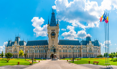 The Palace of Culture in Iasi. Sunny summer cityscape of Iasi town, capital of Moldavia region,...