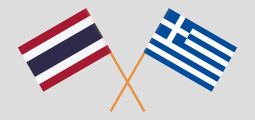 Thailand and Greece. Crossed Thai and Greek flags