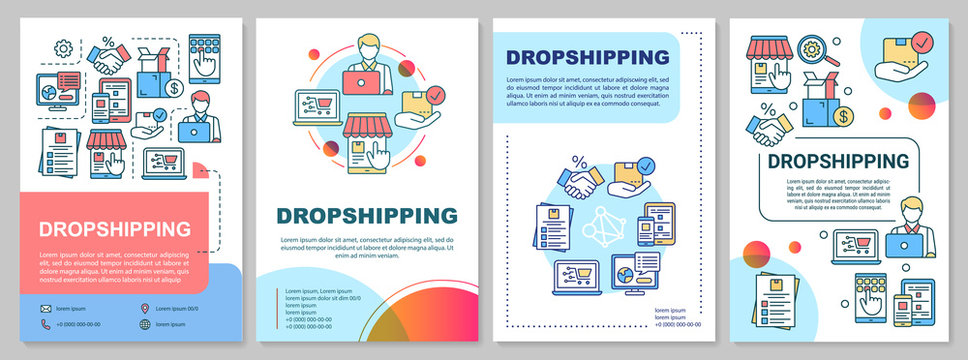 Dropshipping brochure template. Supply chain management. Flyer, booklet, leaflet print, cover design with linear illustrations. Vector page layouts for magazines, annual reports, advertising posters
