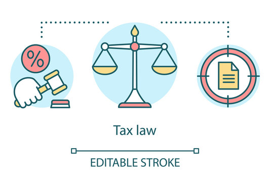 Tax law concept icon. Financial verdict idea thin line illustration. Taxation legislation and regulations. Economic violation. Taxpayer punishment. Vector isolated outline drawing. Editable stroke