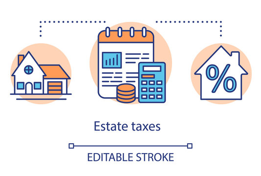 Estate taxes concept icon. Financial levy idea thin line illustration. Inheritance tax calculation. Paying percent for inherited money and property. Vector isolated outline drawing. Editable stroke