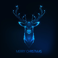 Merry Christmas greeting card with futuristic glowing low poly deer head on dark blue background.