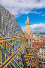 Wall Mural - Vienna city skyline, aerial view from above