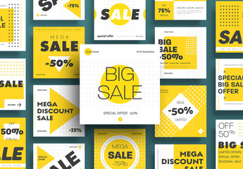 Social Media Post Layout Set with Yellow Geometric Elements