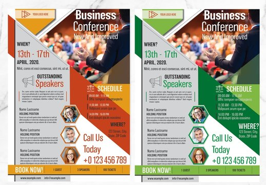 Business Conference Flyer with Orange and Green Accents
