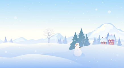 Poster Bleu clair Winter snow covered landscape with a cute snowman, mountain background