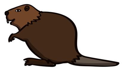 Beaver, illustration, vector on white background.