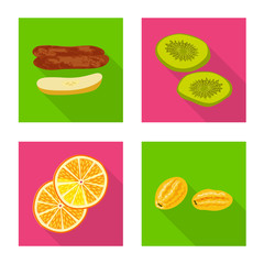 Fototapete - Vector design of fruit and dried logo. Collection of fruit and food stock vector illustration.