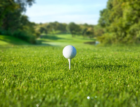 Low angle view of golf ball on a tee in front of a sunny fairway