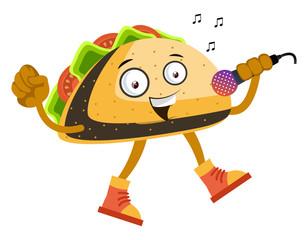 Taco singing, illustration, vector on white background.