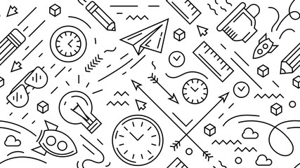 Seamless doodle background. Modern and cool objects in black and white. Monoline design vector