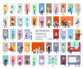 Business people working character vector design. Presentation in various action with emotions, running, standing and walking. no3