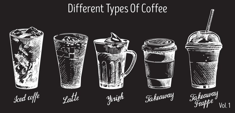 Vector vintage hand drawn coffee types set