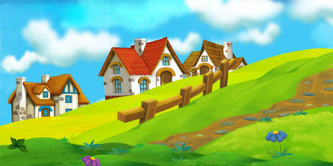 cartoon summer scene with path to the farm village - nobody on scene - illustration for children