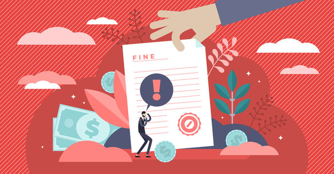 Pay fine vector illustration. Flat tiny punishment document persons concept