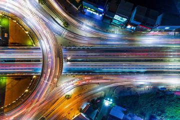 Aerial shot top view circle road at night.. Fotobehang