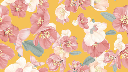 Floral seamless pattern, Japanese quince flowers on yellow, pastel vintage theme