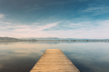 Landscape of pier with a blue sky