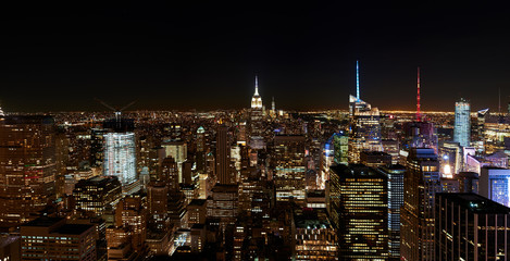Panorama of the night city, which glows with lights. new york aerial view