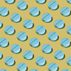 Blue Pharma Pill Pattern on Pastel Yellow