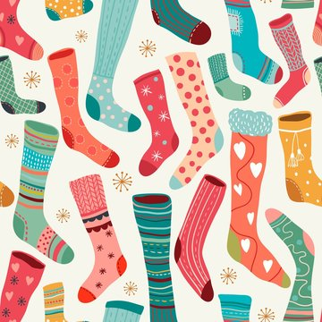 Winter seamless pattern with colorful socks