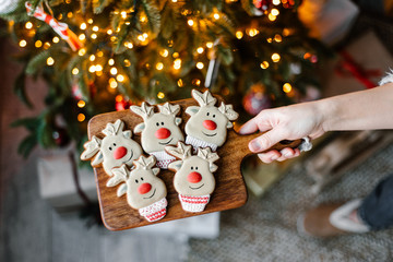 Crop hand with cute gingerbread near Christmas tree