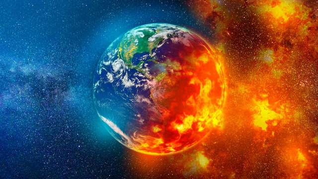 View of planet earth burning in space red and blue