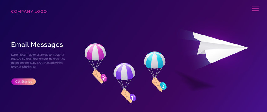 Email message service, isometric concept vector illustration. Flying paper plane and parachuting icon envelopes, unread message, ultraviolet web page for email marketing company, sending notifications