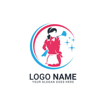 Women cleaning services logo. Modern editable logo