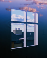 Window surrounded by water and clouds