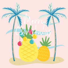 Vector illustration of tropical Christmas with palm trees  and pineapple