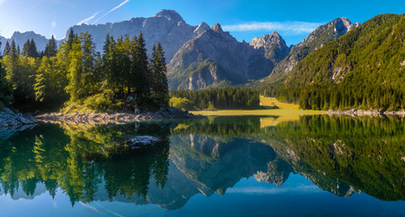 Fotomurales - Panorama of a beautiful mountain lake in the Italian Julian Alps-Laghi di Fusine