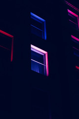 Illuminated windows by night