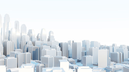 3d abstract modern city in sunny day Fototapete