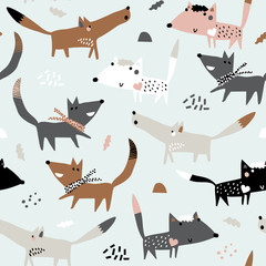 Baby seamless pattern with funny dogs. Perfect for kids apparel, fabric, textile, nursery decoration, wrapping paper. Childish vector background. Autumn.