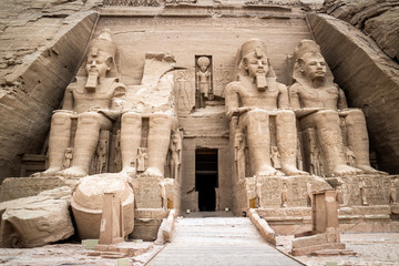 Front view of the Temple of Ramses II, Abu Simbel, Egypt