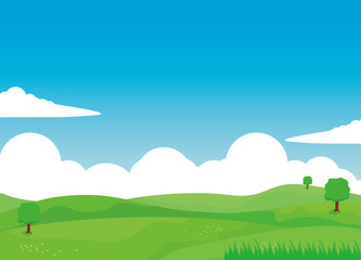Nature landscape vector illustration with clouds, green field and tree. Fotoväggar