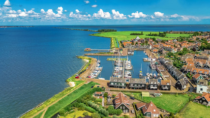 Aerial drone view of Marken island, traditional fisherman village from above, typical Dutch landscape, North Holland, Netherlands Fototapete