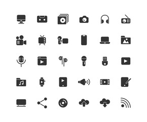 Media solid icon set, Vector and Illustration.