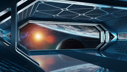 Fototapete - Dark blue spaceship futuristic interior with window view on space and planets 3d rendering
