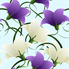 seamless pattern with bell flowers