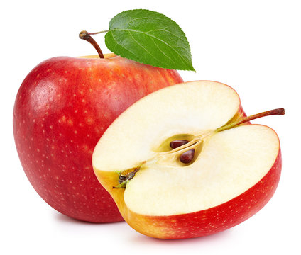 Red apples isolated on white background. Ripe fresh apples Clipping Path. Apple with leaf