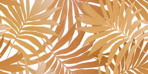 Gold colored fan palm leaves seamless pattern. Golden tropical leaf background.