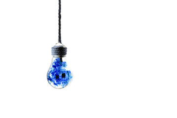 Lamp bulb hanging on the rope. isolated on white background. Blue fire inside. New idea concept.