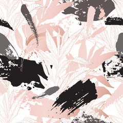 Hand drawn abstract floral background: line art leaves, grunge brush strokes with glossy gradient effect