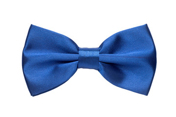 Blue bow tie isolated on white background Fotobehang