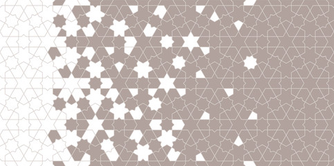Islamic halftone vector. Geometric halftone texture with color tile disintegration or breaking