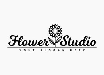 Flower studio logo. Vector emblem.